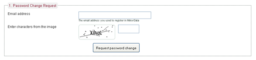 Password change request form