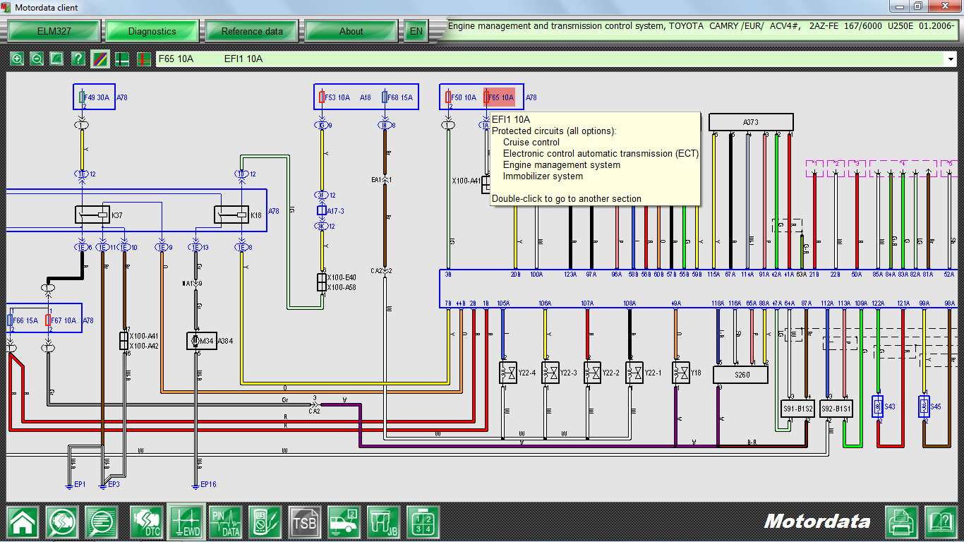 Motordata Features Wiring Diagram For Ba Toyota Camry Protected Circuits